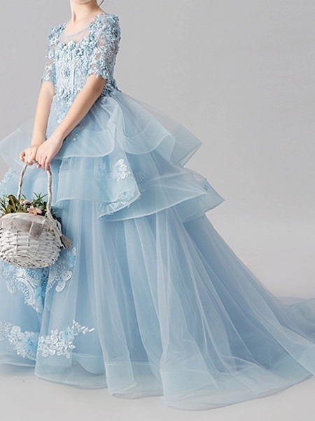 Ball Gown Sweep / Brush Train Pageant Flower Girl Dresses - Polyester Half Sleeve Jewel Neck With Appliques / Tiered_5