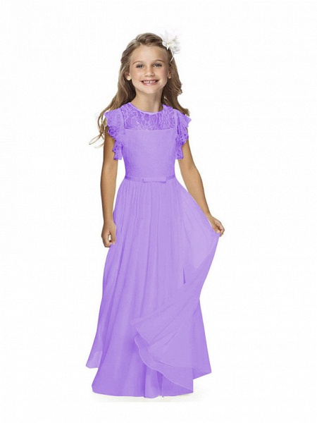 Sheath / Column Long Length Party / Birthday / First Communion Flower Girl Dresses - Chiffon / Lace Short Sleeve Jewel Neck With Lace / Butterfly_6
