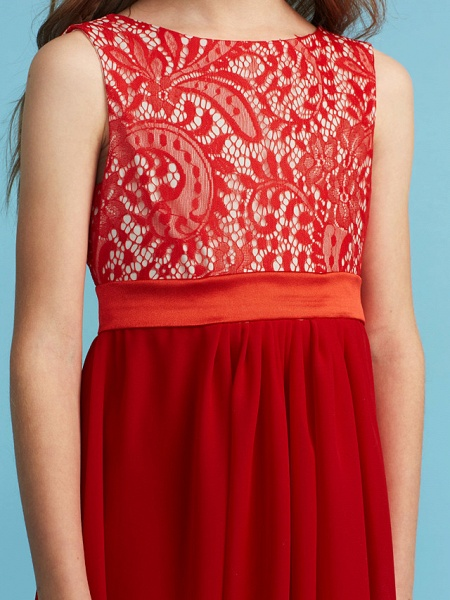 Sheath / Column Jewel Neck Floor Length Chiffon / Lace Junior Bridesmaid Dress With Sash / Ribbon / Appliques_7