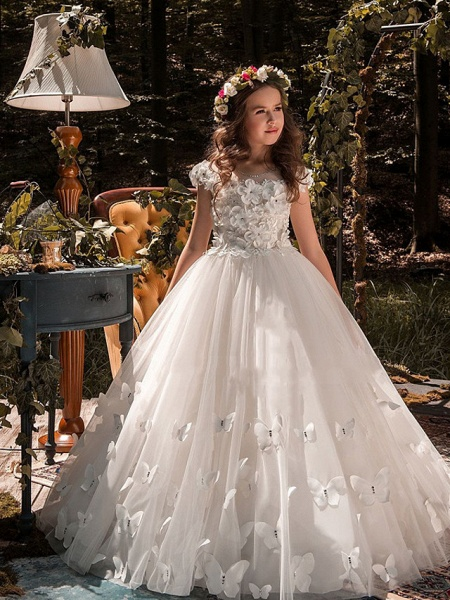 Princess / Ball Gown Court Train Wedding / Party Flower Girl Dresses - Tulle Short Sleeve Jewel Neck With Lace / Appliques_1