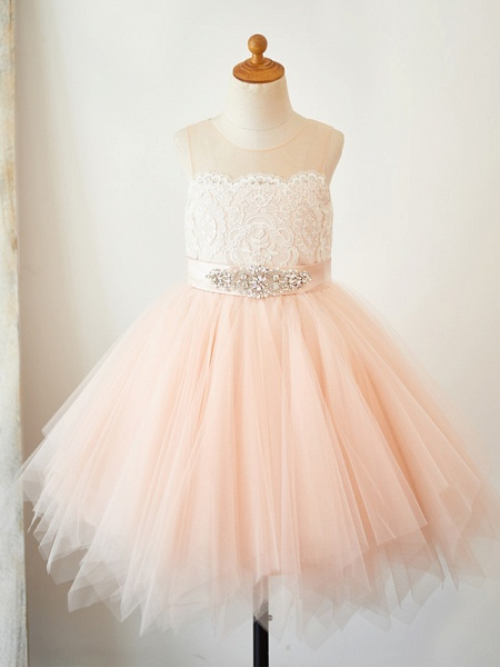 A-Line Knee Length Pageant Flower Girl Dresses - Lace / Tulle Sleeveless Jewel Neck With Lace / Sash / Ribbon_1