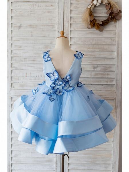 Ball Gown Knee Length Wedding / Birthday Flower Girl Dresses - Satin / Tulle Sleeveless V Neck With Butterfly Design_2