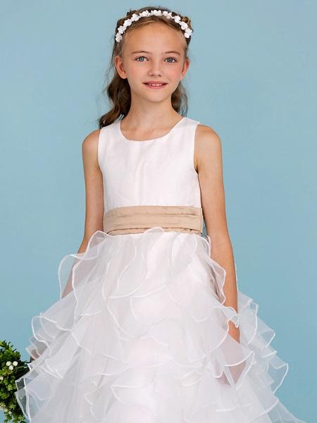 Princess / A-Line Jewel Neck Ankle Length Organza / Satin Junior Bridesmaid Dress With Sash / Ribbon / Cascading Ruffles / Wedding Party_6