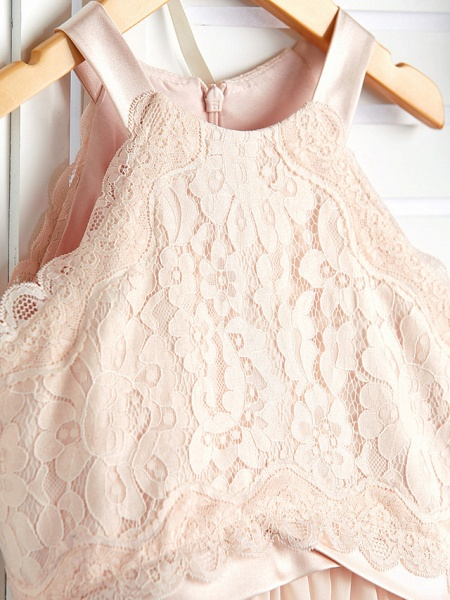 A-Line Crew Neck Floor Length Chiffon / Lace Junior Bridesmaid Dress With Lace / Sash / Ribbon_5