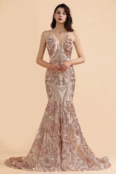 V-neck Sequins Sleeveless Mermaid Floor Length Prom Dresses_1