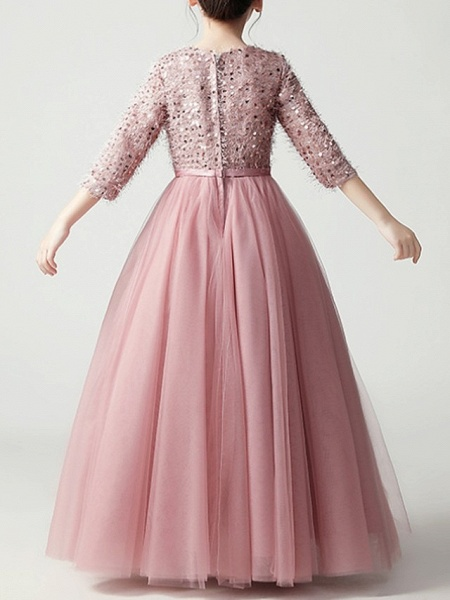 A-Line Floor Length Pageant Flower Girl Dresses - Tulle 3/4 Length Sleeve Jewel Neck With Feathers / Fur / Bow(S) / Paillette_5