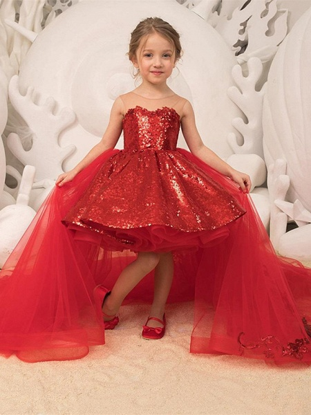 Princess / Ball Gown Sweep / Brush Train Wedding / Party Flower Girl Dresses - Lace / Tulle Sleeveless Illusion Neck With Bow(S) / Tier / Paillette