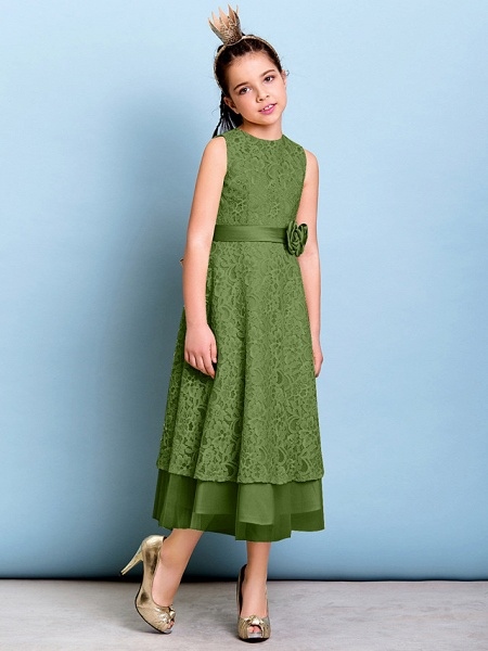 A-Line Jewel Neck Tea Length All Over Floral Lace Junior Bridesmaid Dress With Sash / Ribbon / Bow(S) / Flower / Natural_40