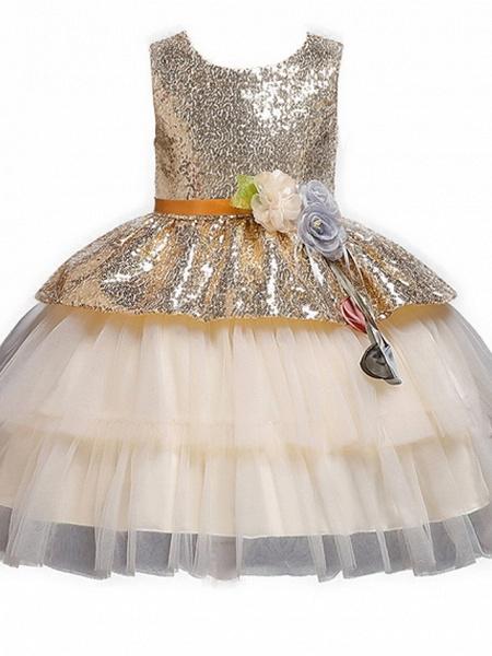 Ball Gown Floor Length Birthday / Formal Evening Flower Girl Dresses - Polyester Sleeveless Jewel Neck With Sash / Ribbon / Paillette_4