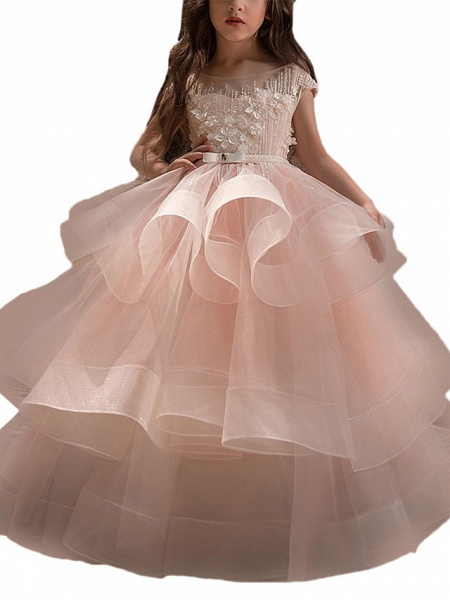 Ball Gown Sweep / Brush Train Birthday / Pageant Flower Girl Dresses - Lace / Organza / Tulle Short Sleeve Boat Neck With Heart / Belt / Beading_2