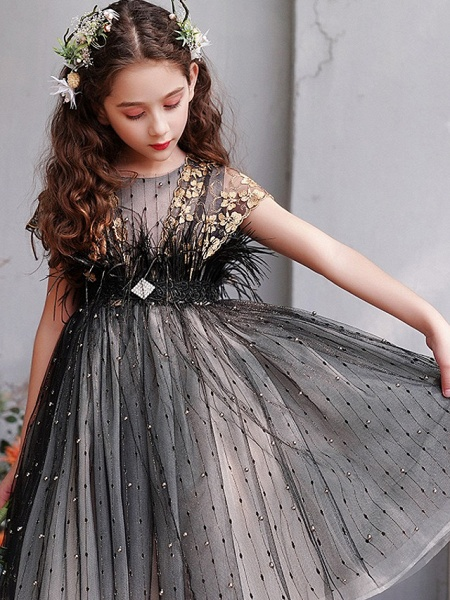 A-Line Knee Length Engagement Party / Pageant Flower Girl Dresses - Lace / Tulle Short Sleeve Jewel Neck With Feathers / Fur / Embroidery / Appliques_5