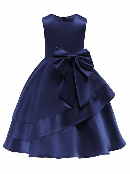 Ball Gown Knee Length Wedding / Party Flower Girl Dresses - Tulle Sleeveless Jewel Neck With Bow(S) / Tier_6
