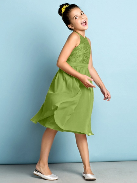 A-Line Jewel Neck Knee Length Chiffon / Lace Junior Bridesmaid Dress With Lace / Natural / Mini Me_41
