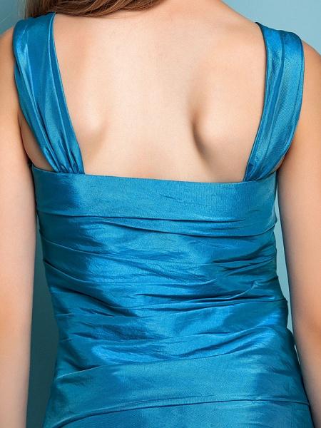 Princess / A-Line Straps Floor Length Taffeta Junior Bridesmaid Dress With Side Draping / Spring / Summer / Fall / Apple / Hourglass_8