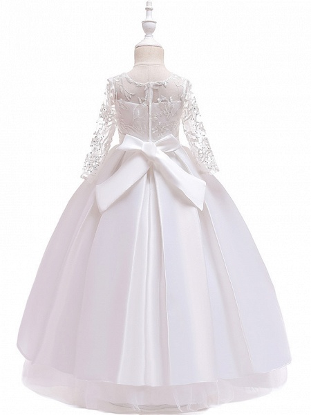 Princess Floor Length Wedding / Party / Pageant Flower Girl Dresses - Lace / Satin / Tulle Long Sleeve Jewel Neck With Lace / Belt / Crystals_11