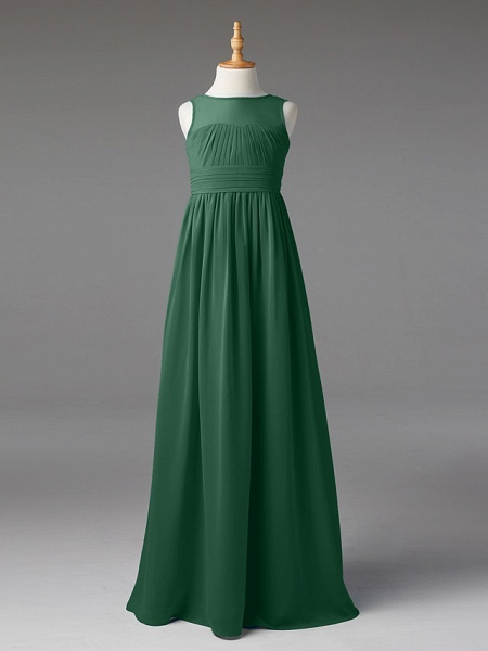 Princess / A-Line Jewel Neck Floor Length Chiffon Junior Bridesmaid Dress With Sash / Ribbon / Pleats_41
