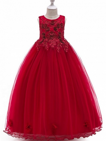 A-Line Floor Length Pageant Flower Girl Dresses - Tulle Sleeveless Jewel Neck With Bow(S) / Beading / Appliques_2