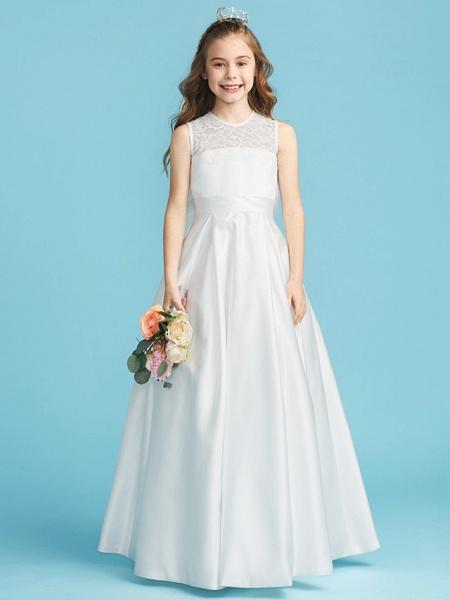 Princess / A-Line Jewel Neck Floor Length Lace / Satin Junior Bridesmaid Dress With Lace / Bow(S) / Pleats_1