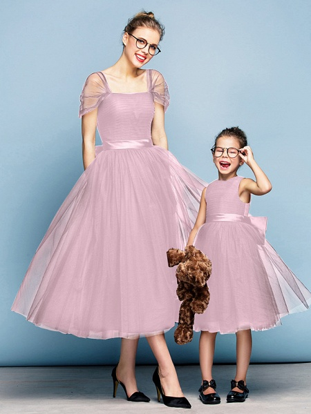 Princess Tea Length Party / Prom / Formal Evening Flower Girl Dresses - Tulle Short Sleeve Square Neck With Bow(S) / Ruched / Elegant_10