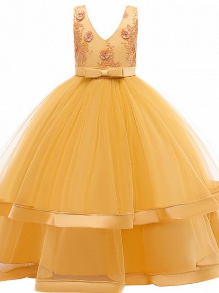 Princess / Ball Gown Floor Length Wedding / Party Flower Girl Dresses - Tulle Sleeveless V Neck With Sash / Ribbon / Bow(S) / Tier_8