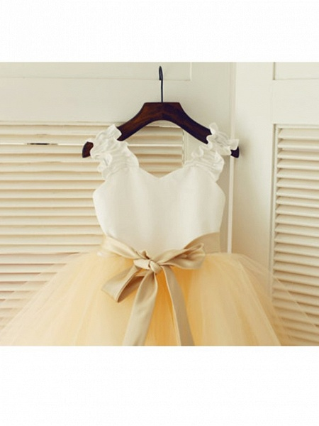 A-Line Tea Length Wedding / First Communion / Pageant Flower Girl Dresses - Satin / Tulle Sleeveless Strapless With Belt_3