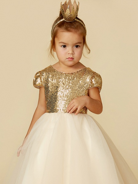 Princess Floor Length Wedding / Party / Pageant Flower Girl Dresses - Tulle / Sequined Short Sleeve Jewel Neck With Sash / Ribbon / Sequin_7