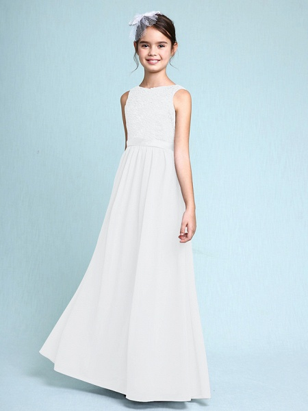 Sheath / Column Bateau Neck Floor Length Chiffon / Lace Junior Bridesmaid Dress With Lace / Natural_20