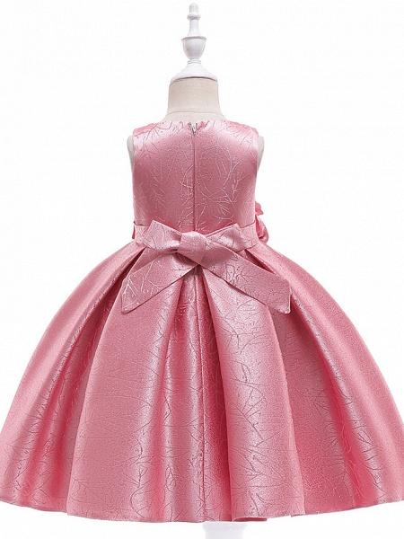 A-Line Knee Length Wedding / Birthday / Pageant Flower Girl Dresses - Cotton Blend Sleeveless Jewel Neck With Petal / Sash / Ribbon / Trim_6