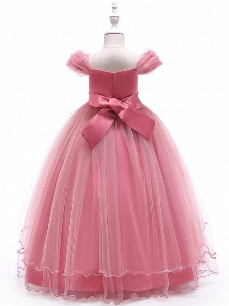 Ball Gown Floor Length Wedding / Party Flower Girl Dresses - Tulle Sleeveless Off Shoulder With Bow(S) / Solid / Tiered_12