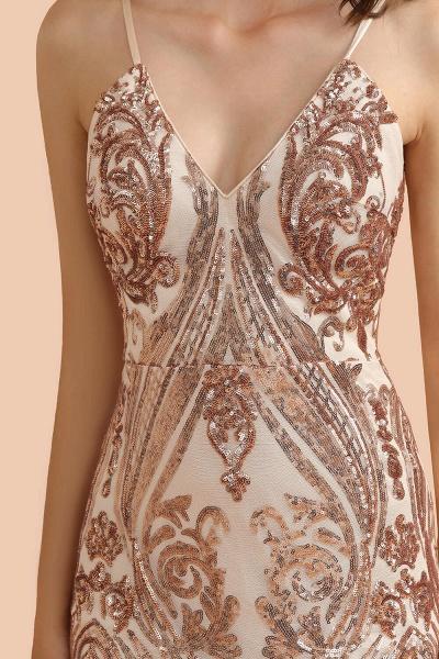V-neck Sequins Sleeveless Mermaid Floor Length Prom Dresses_5