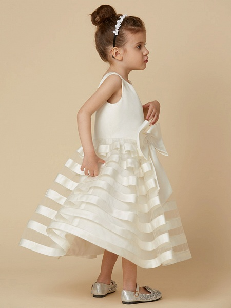 A-Line Tea Length Wedding / First Communion Flower Girl Dresses - Satin / Tulle Sleeveless Jewel Neck With Bow(S)_6