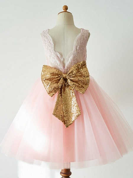 Ball Gown Knee Length Wedding / First Communion / Pageant Flower Girl Dresses - Lace / Tulle Sleeveless Jewel Neck With Bow(S)_2
