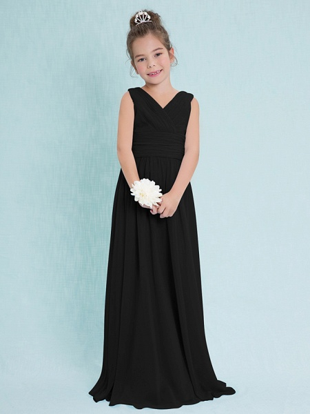 Sheath / Column V Neck Floor Length Chiffon Junior Bridesmaid Dress With Criss Cross / Ruched / Natural_38