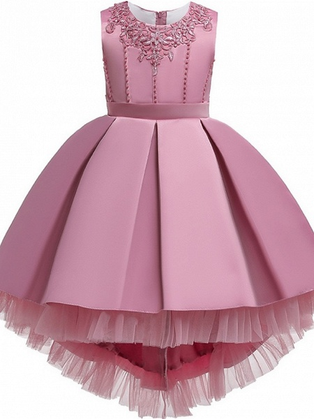 Princess / Ball Gown Knee Length Wedding / Party Flower Girl Dresses - Lace / Satin Sleeveless Jewel Neck With Sash / Ribbon / Pleats / Embroidery_8