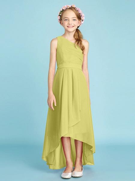 A-Line One Shoulder Asymmetrical Chiffon Junior Bridesmaid Dress With Sash / Ribbon / Bow(S) / Side Draping / Natural_21