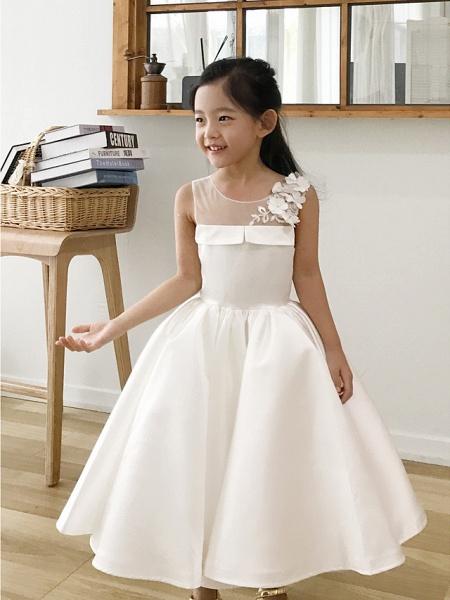 Ball Gown Tea Length Wedding / First Communion / Birthday Flower Girl Dresses - Satin Sleeveless Jewel Neck With Petal / Appliques_1