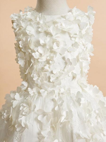 A-Line Tea Length Wedding / First Communion Flower Girl Dresses - Lace Sleeveless Jewel Neck With Flower_4