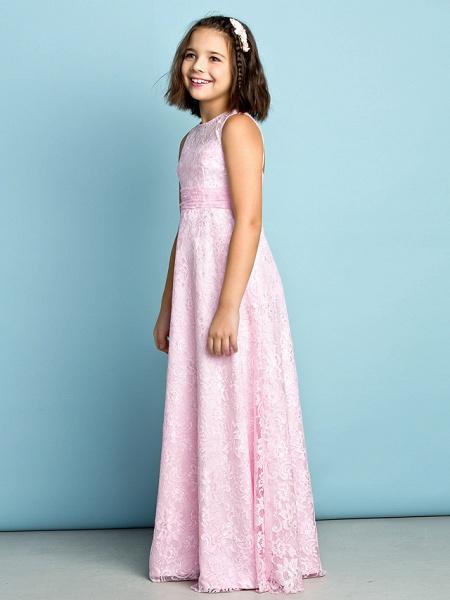 Sheath / Column Jewel Neck Floor Length Lace Junior Bridesmaid Dress With Lace / Natural / Mini Me_4