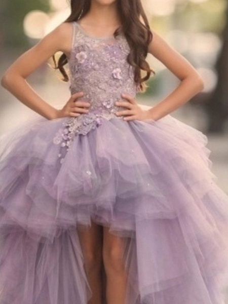 Ball Gown Sweep / Brush Train Pageant Flower Girl Dresses - Polyester Sleeveless Jewel Neck With Appliques_5