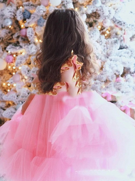 Princess / A-Line Floor Length Party / Birthday Flower Girl Dresses - Tulle Short Sleeve Jewel Neck With Splicing / Paillette_2