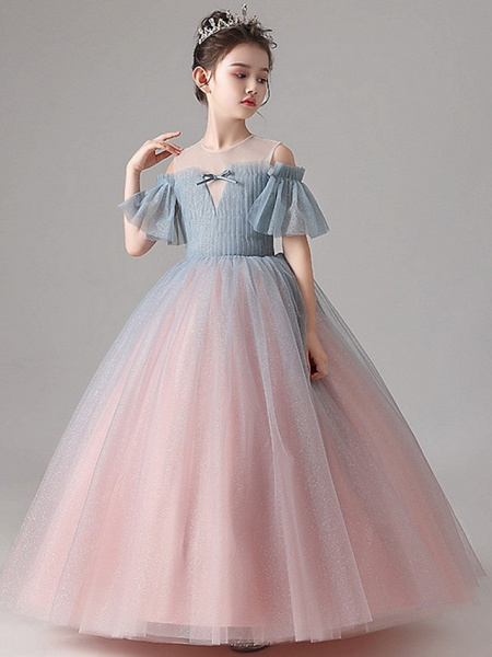 Ball Gown Floor Length Party / Birthday Flower Girl Dresses - Tulle Short Sleeve Jewel Neck With Pleats_3