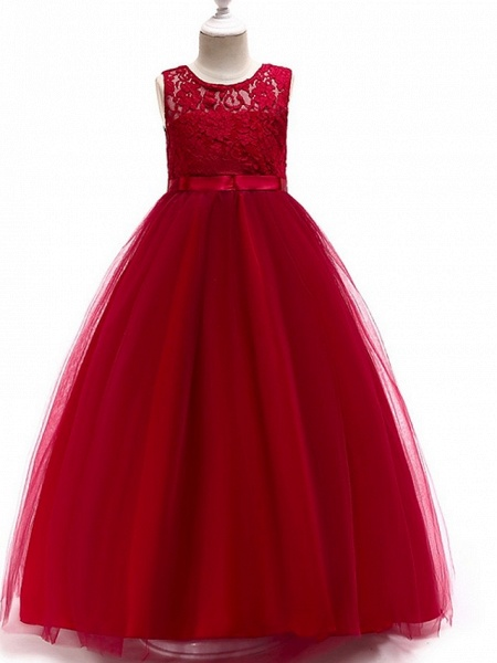 A-Line Round Floor Length Cotton Junior Bridesmaid Dress With Lace / Bow(S)_8