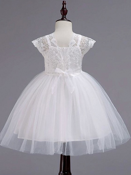 Princess Knee Length Wedding / Party / Pageant Flower Girl Dresses - Lace / Tulle / Cotton Cap Sleeve Square Neck With Lace / Belt_7