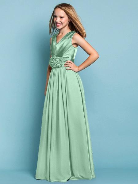 Sheath / Column V Neck Floor Length Chiffon Junior Bridesmaid Dress With Flower / Spring / Summer / Fall / Apple / Hourglass_39