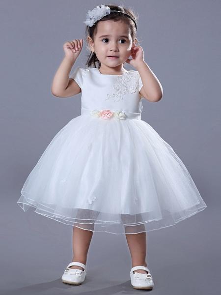 Ball Gown Medium Length Wedding / Birthday Flower Girl Dresses - Satin / Tulle Short Sleeve Jewel Neck With Beading / Embroidery / Flower_4