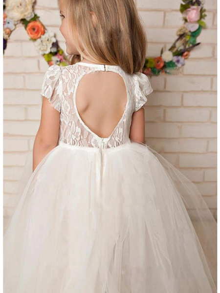 A-Line Floor Length Wedding / Party Flower Girl Dresses - Lace / Satin / Tulle Cap Sleeve Jewel Neck With Solid_2
