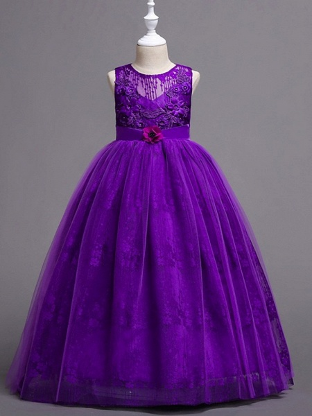 Princess / Ball Gown Floor Length Wedding / Party Flower Girl Dresses - Tulle Sleeveless Jewel Neck With Bow(S) / Flower_5