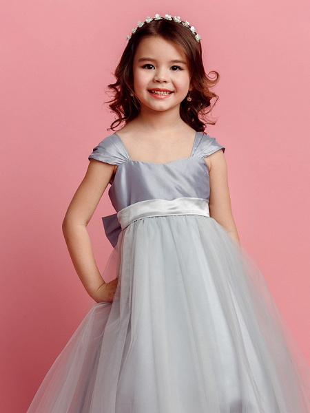 Ball Gown Floor Length Pageant Flower Girl Dresses - Taffeta / Tulle Short Sleeve Square Neck With Sash / Ribbon / Bow(S) / Spring / Summer / Fall_5