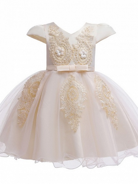 Princess / Ball Gown Knee Length Wedding / Party Flower Girl Dresses - Tulle Short Sleeve V Neck With Sash / Ribbon / Bow(S) / Appliques_11