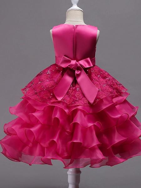 Princess Midi Wedding / Birthday / Pageant Flower Girl Dresses - Organza / Satin Sleeveless Jewel Neck With Bow(S) / Embroidery / Crystals / Rhinestones_8